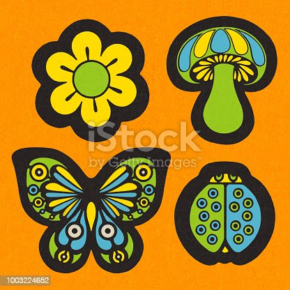 Flower, Mushroom, Butterfly, and Ladybug