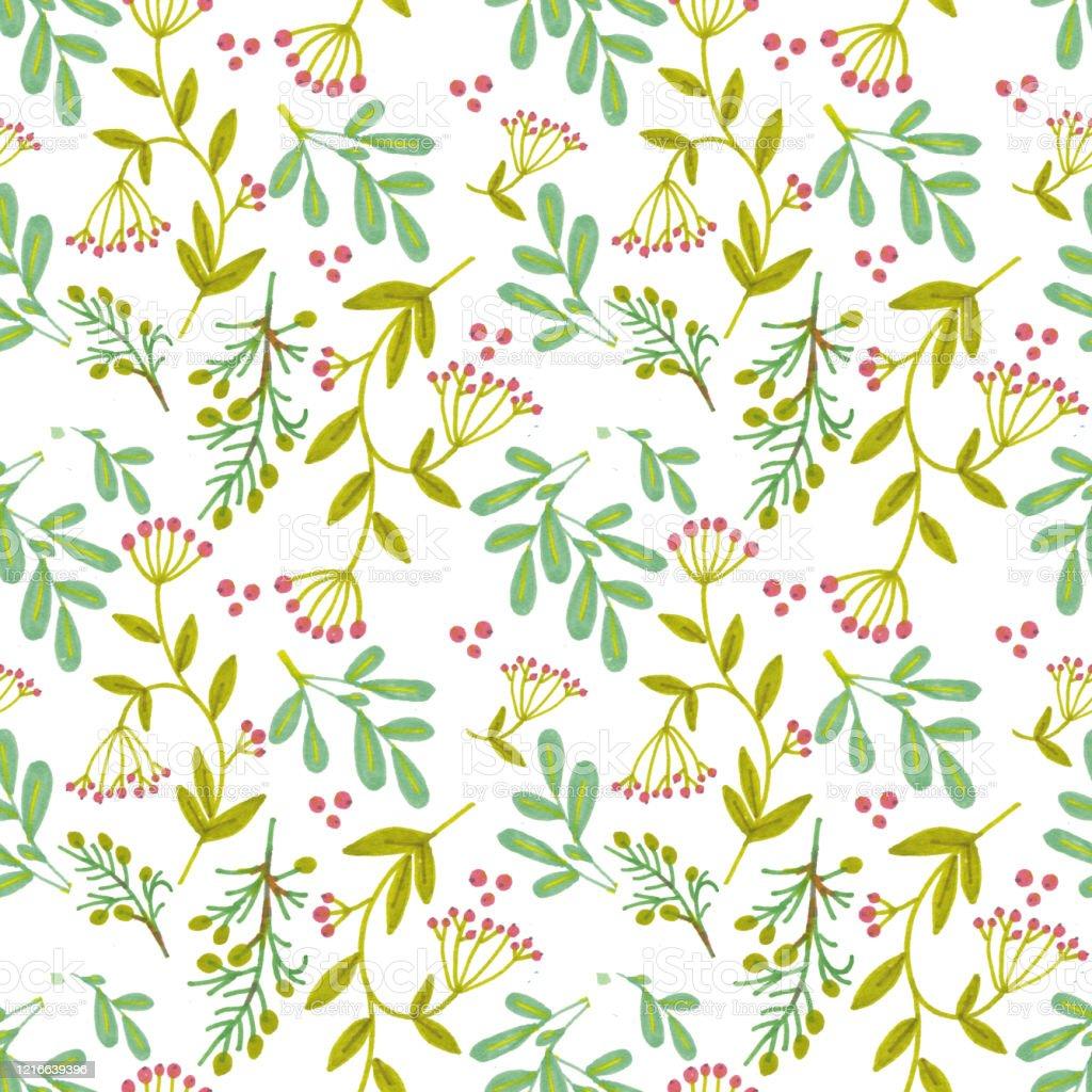 Motif De Fleur Imprimer Avec Des Plantes Des Fleurs Et Des Feuilles Vecteurs Libres De Droits Et Plus D Images Vectorielles De A La Mode Istock