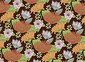 A vector illustration of a Pattern Full of Flowers. Easily to edit seamless and colors if you want. Separated in layers. Pattern in a Mask.