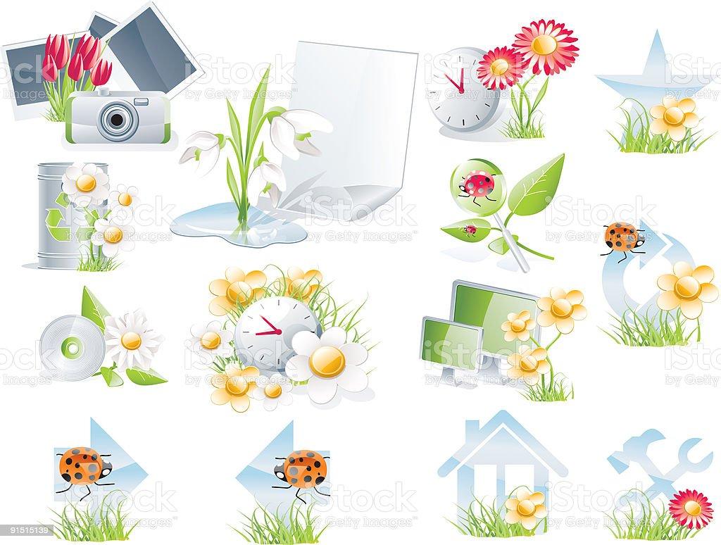 Flower theme computer icon set royalty-free stock vector art