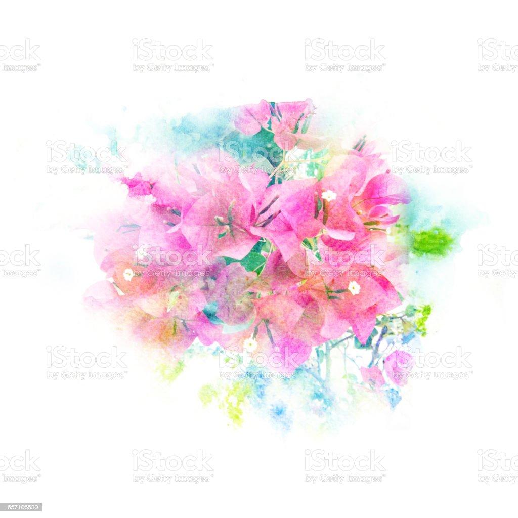 Çiçek suluboya resim. vektör sanat illüstrasyonu