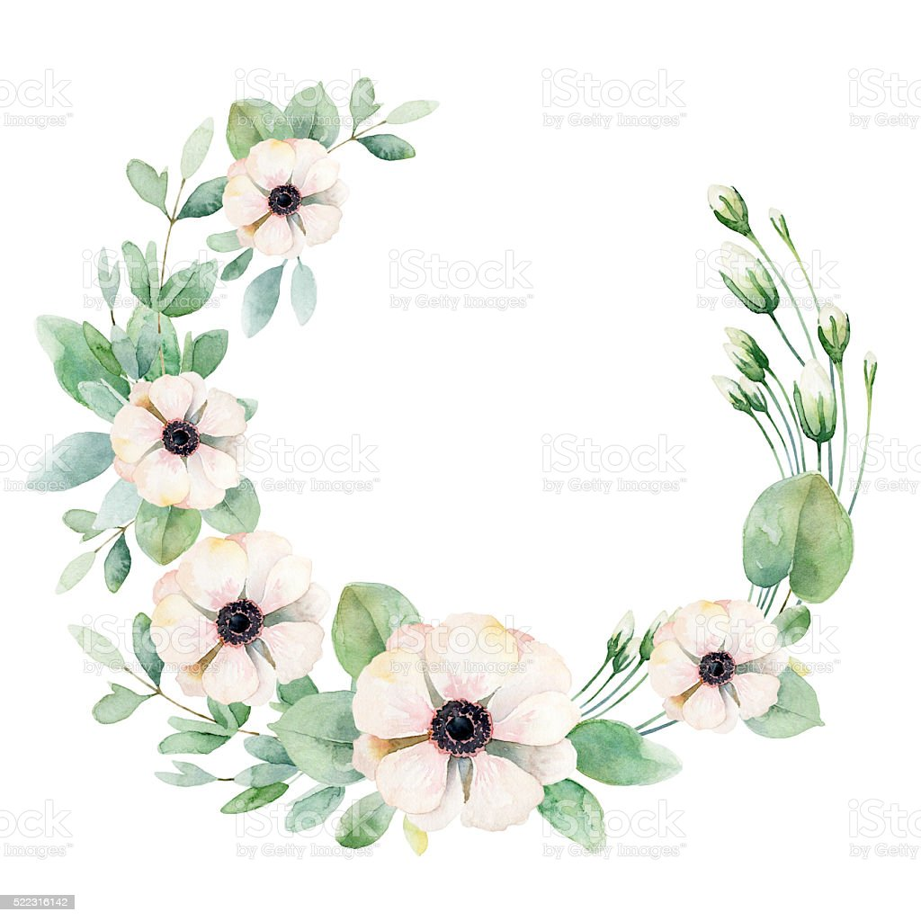Flower wreath with anemones vector art illustration