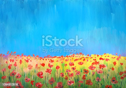 flowering field of poppies, impressionism  oil painting