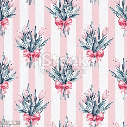 Flowers And Bow Seamless Striped Pattern On Paper Texture 4 Stock