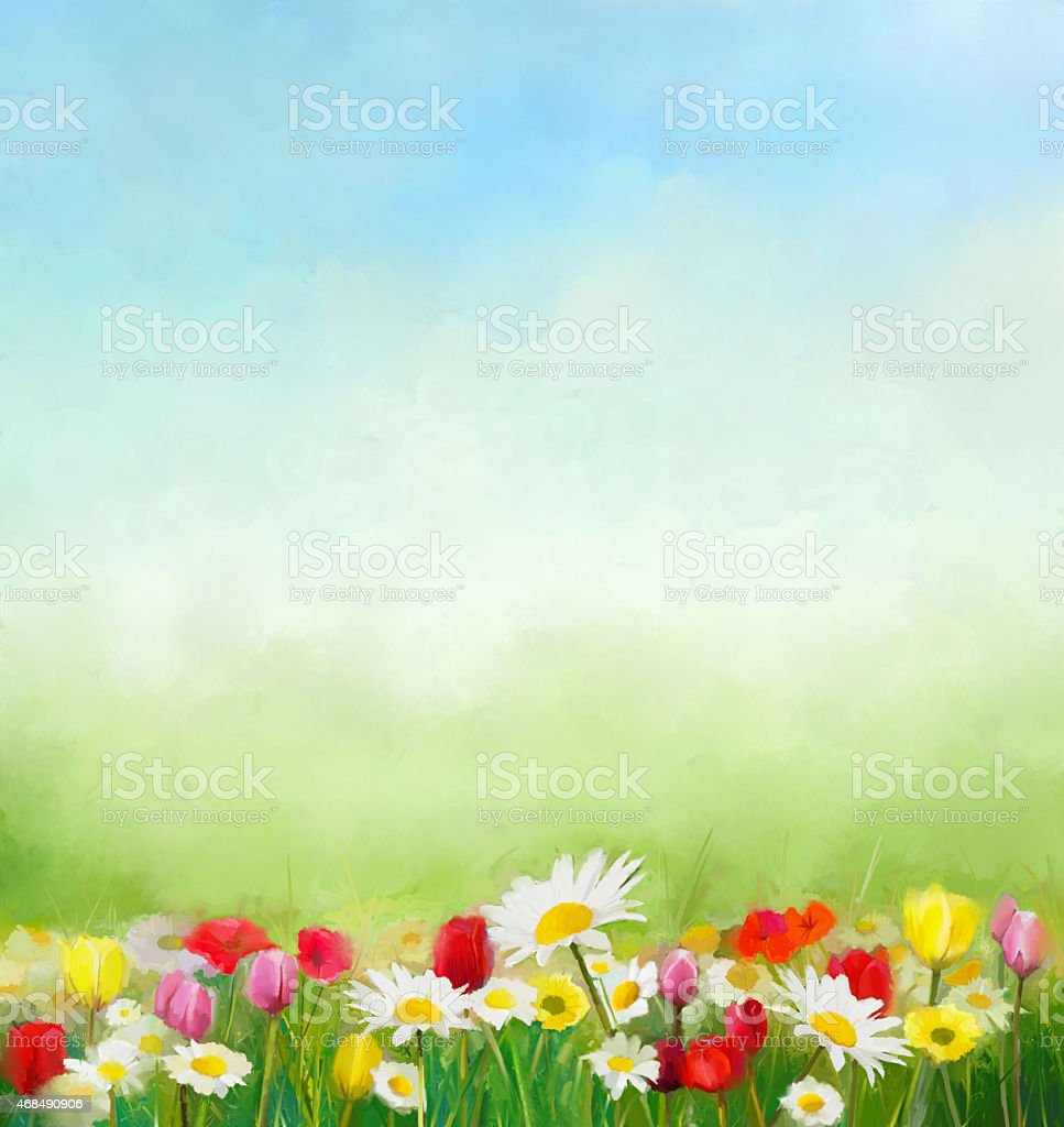 Flowers and green nature composition for background with sky.oil vector art illustration