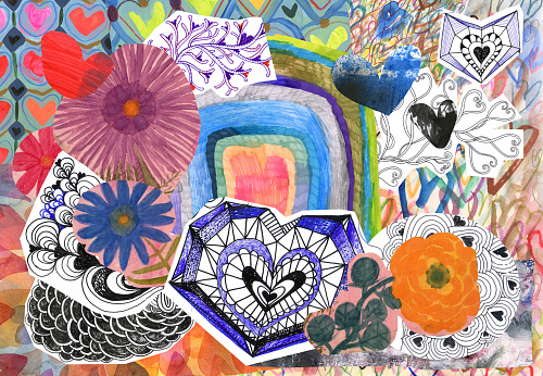 Flowers and hearts collage