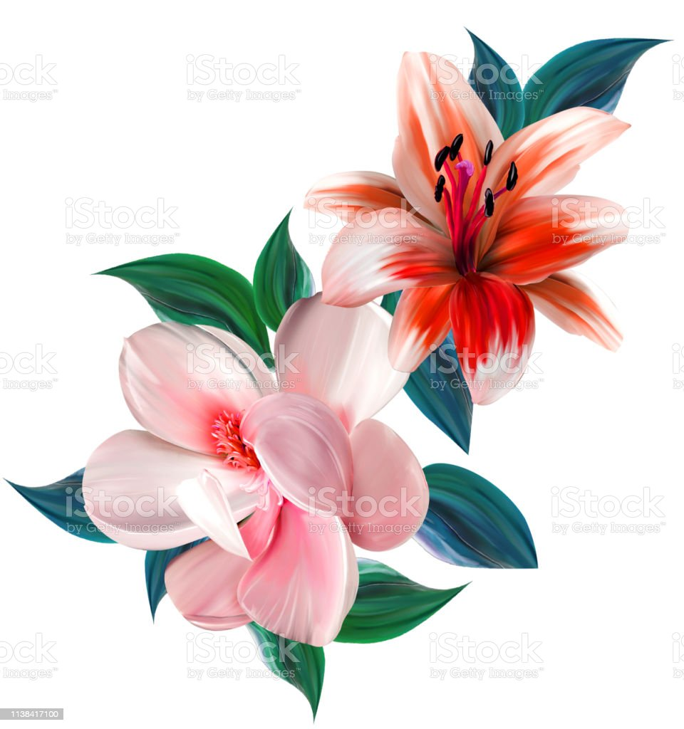 Flowers are full of romance,the leaves and flowers art design