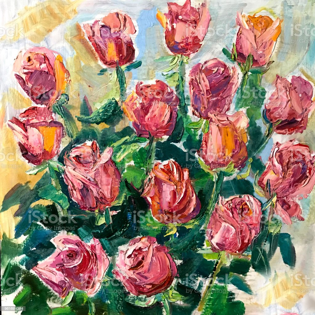 Drawing pink roses flowers bouquet. Picture contains an interesting...