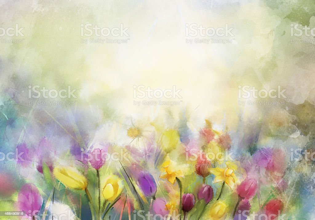 Watercolor flowers painting.Flowers in soft color and blur style for...