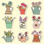 Set  of Flowers in Vessels.