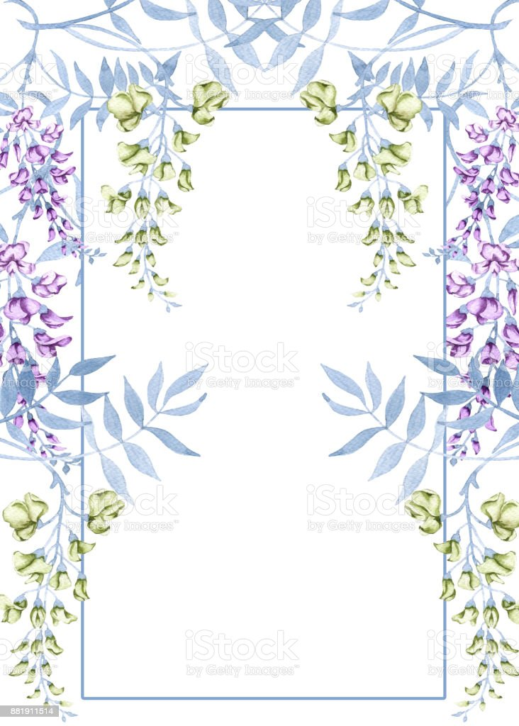 Flowers on a branch of a wisteria. Greeting wedding card. vector art illustration