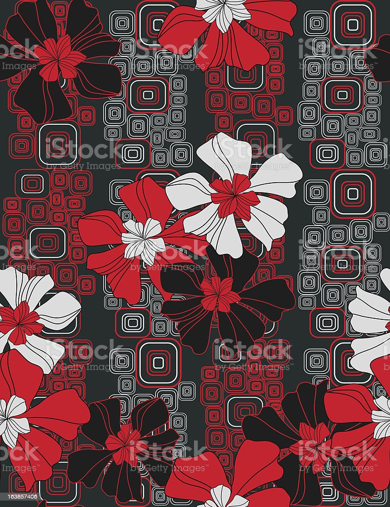 Flowers on geometric background royalty-free stock vector art