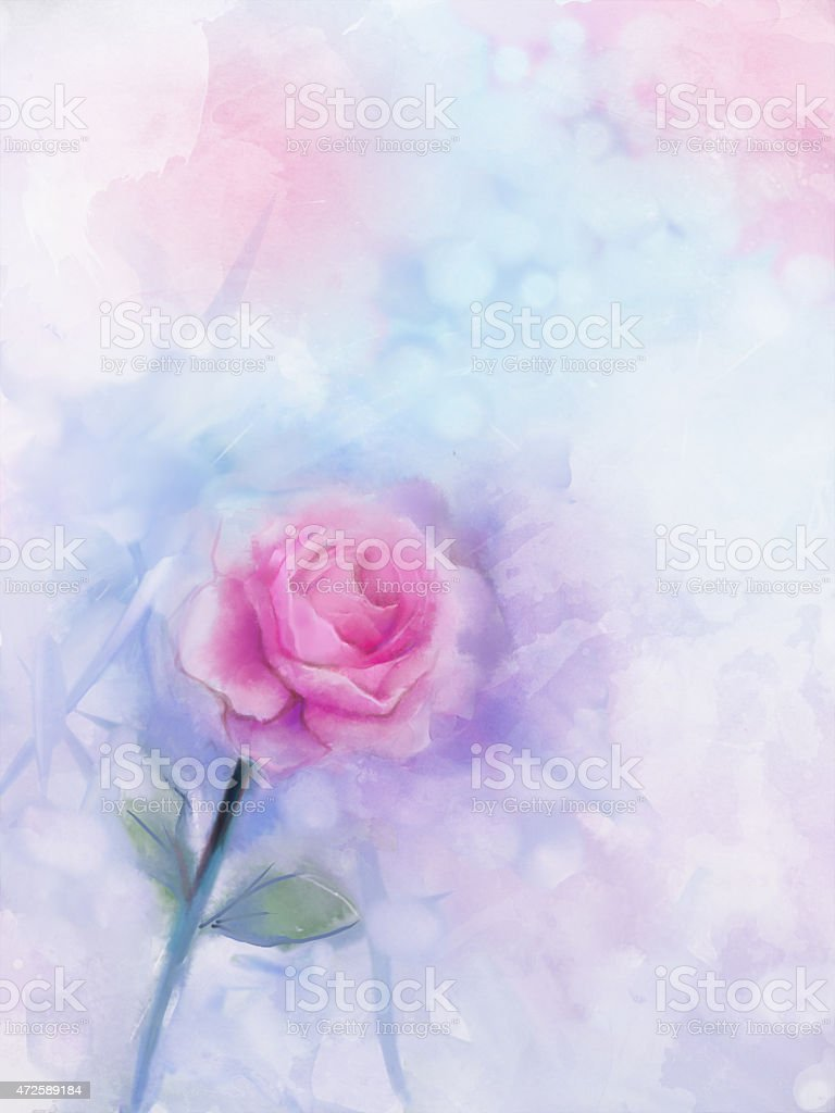 Flowers Painting Pink Rose Floral In Pastel Color Stock Vector Art