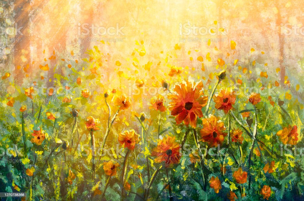 Flowers Paintings Monet Painting Claude Impressionism Paint Landscape  Flower Meadow Oil Stock Illustration - Download Image Now - iStock
