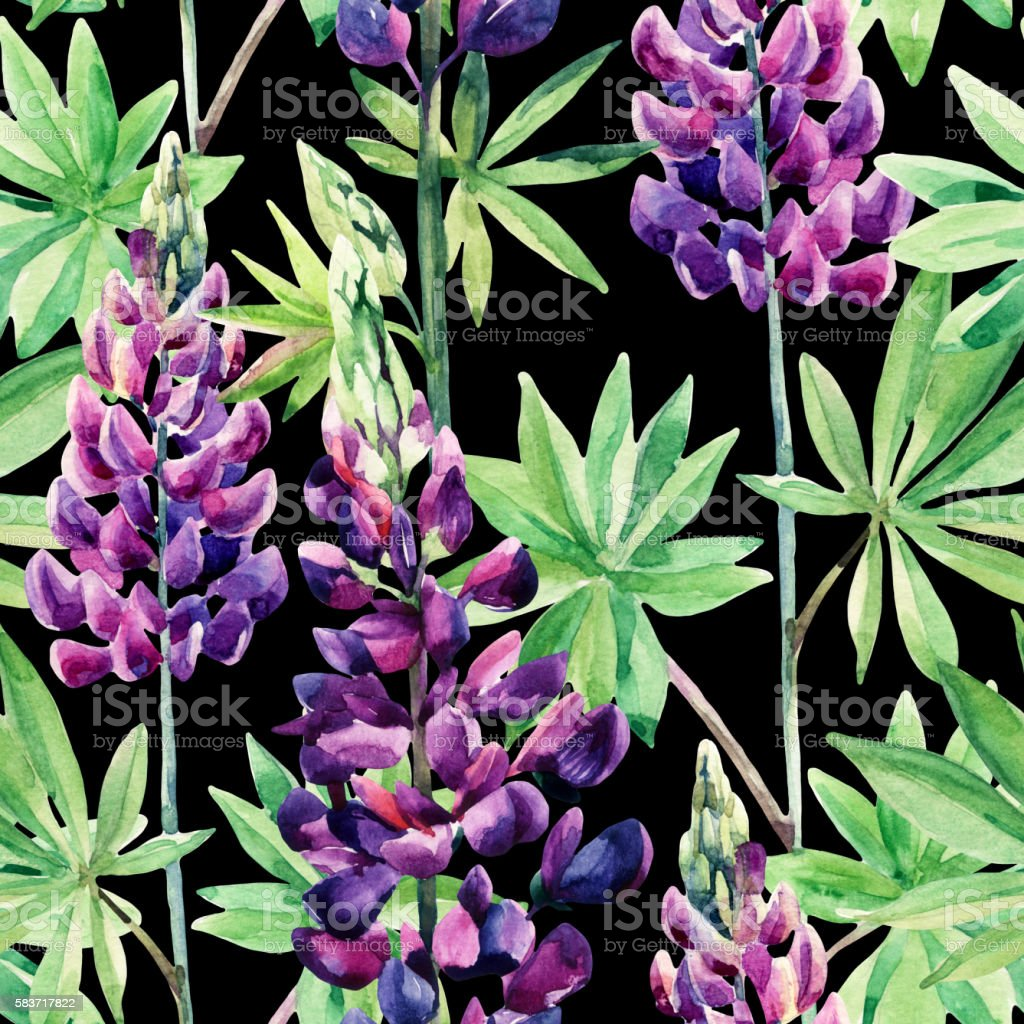 Flowers seamless pattern with watercolor lupines vector art illustration