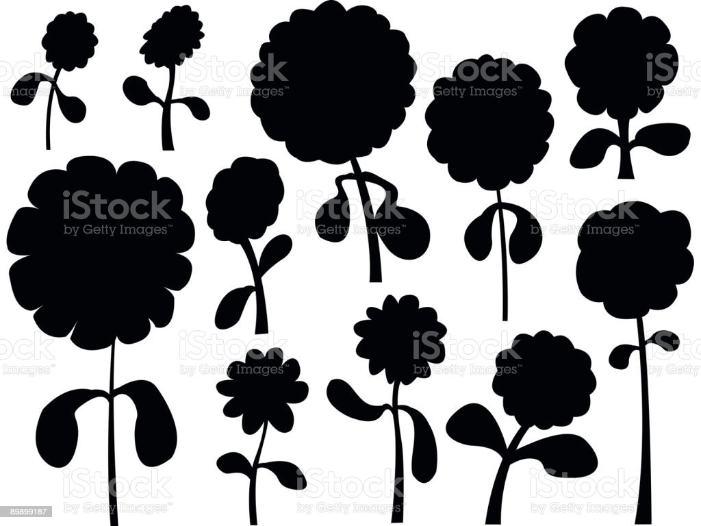 Flowers - silhouette royalty-free flowers silhouette stock vector art & more images of anthropomorphic face