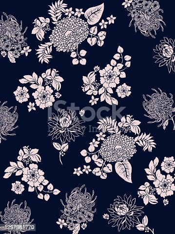 istock flowers textile pattern illustrations 1297981770
