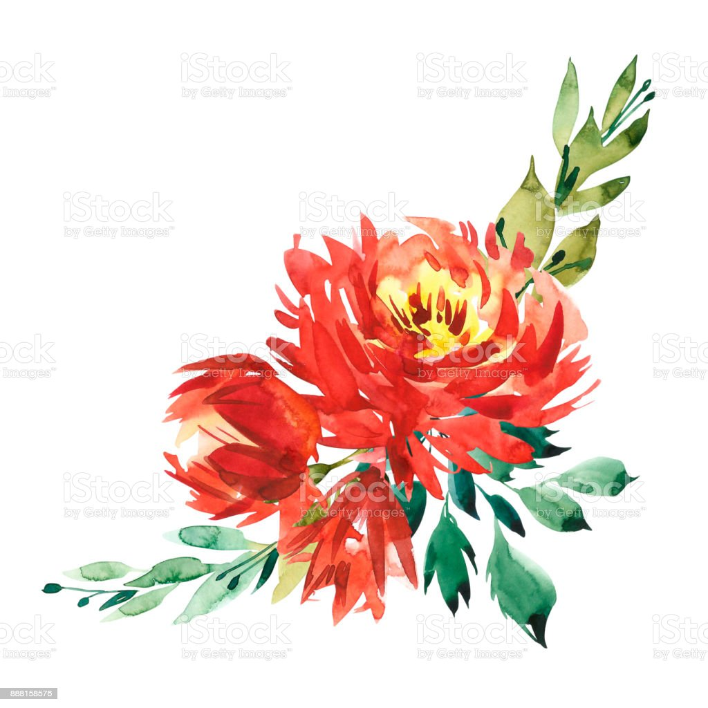 Flowers watercolor illustration a bouquet with a big red peony and flowers watercolor illustration a bouquet with a big red peony and small flowers in bright izmirmasajfo