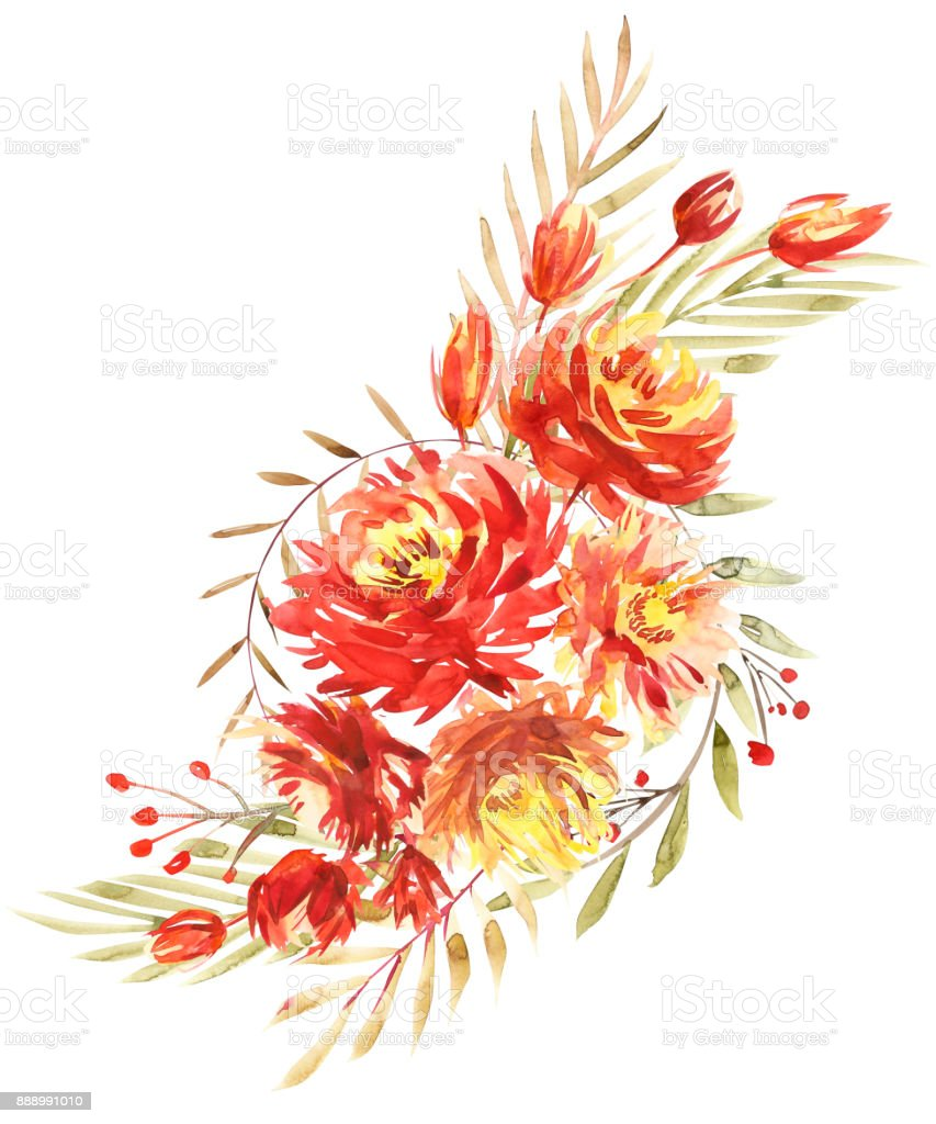 Flowers Watercolor Illustration A Bouquet With A Big Red Peony And ...