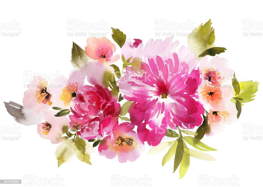 Ilustración acuarela flores - ilustración de arte vectorial