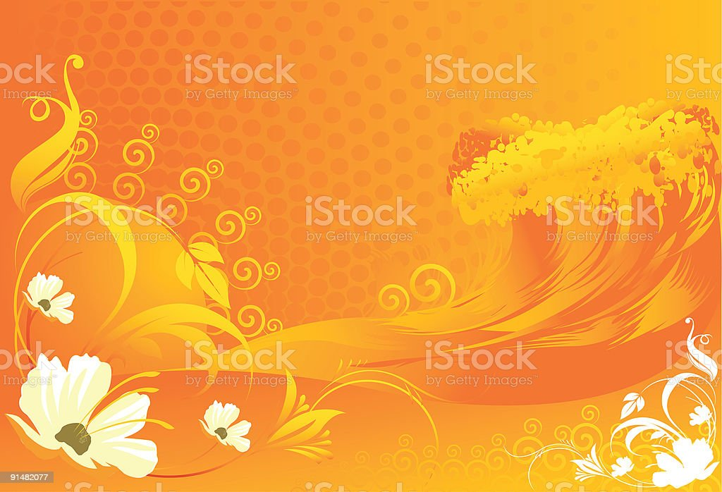 Flowers with Wave  designs royalty-free stock vector art