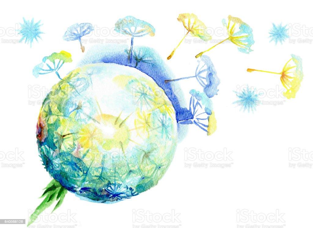 Fluffy dandelion dispersing seeds vector art illustration