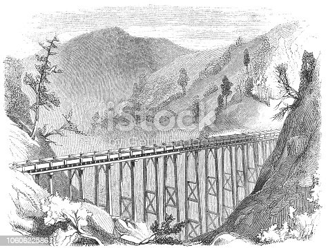 Flume used in hydraulic mining for gold in the Sierra Nevada Range in Nevada County, California, United States of America (circa mid 19th century). Vintage etching circa mid 19th century.
