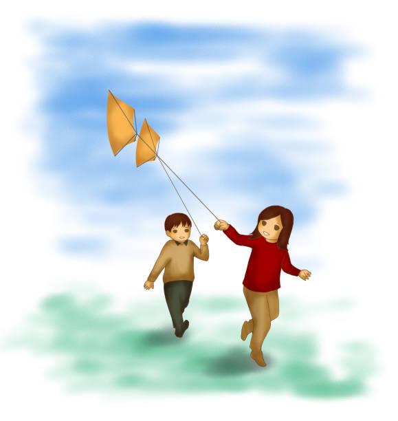Boy Flying Kite Drawing Illustrations, Royalty-Free Vector ...