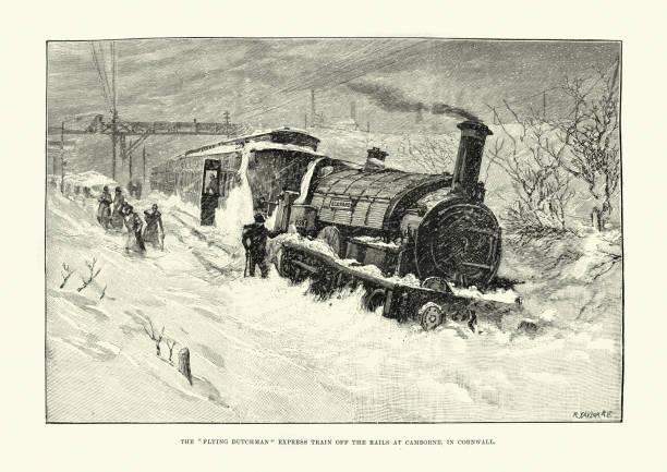 bildbanksillustrationer, clip art samt tecknat material och ikoner med fly holländaren express ångtåg fastnat i snö, 19th century - derail