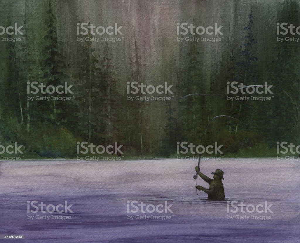 Fly Fisherman vector art illustration