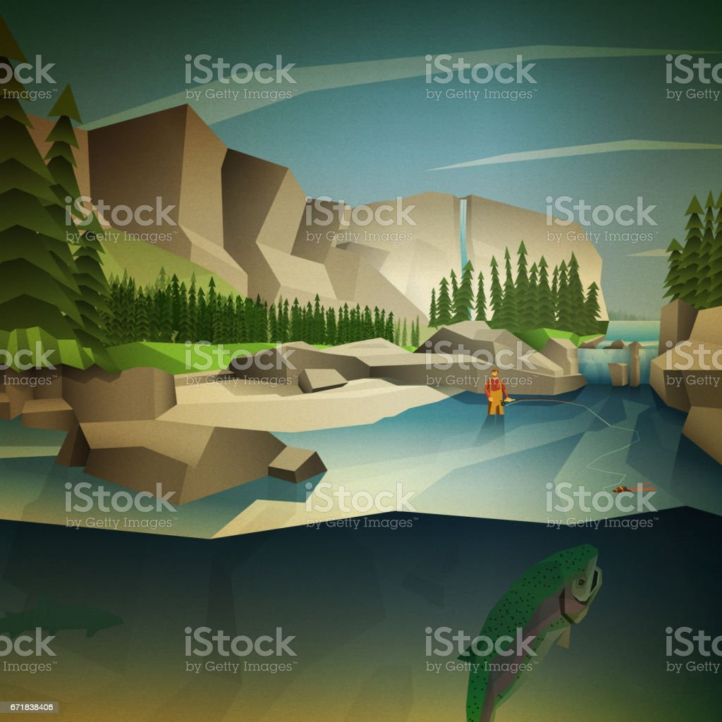 Fly fishing in the mountains vector art illustration