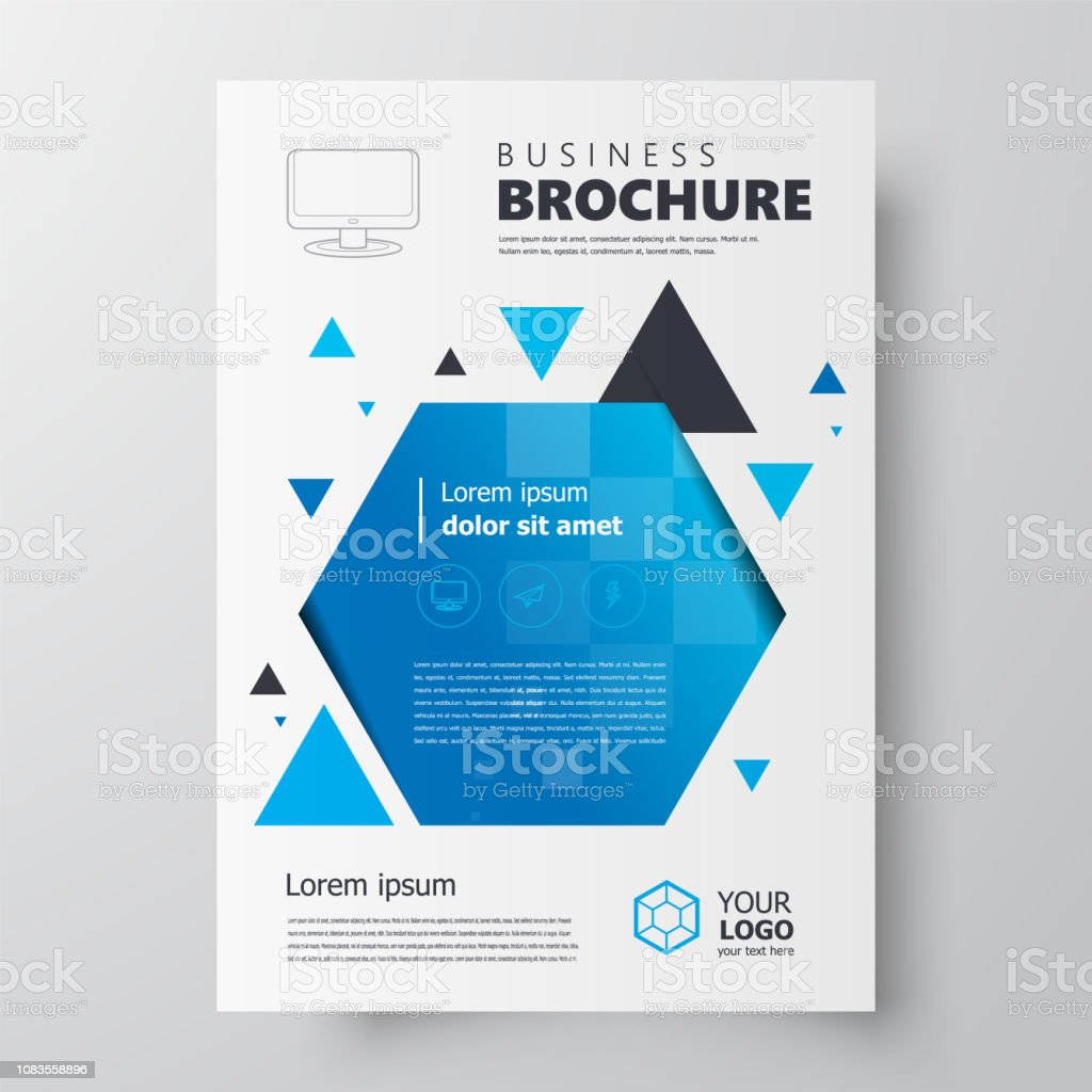 25e2e9cf52a9b9 Flyer brochure design template, geometric theme blue color - Illustration .