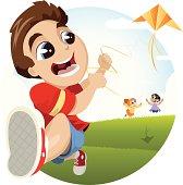 kid running with Kite