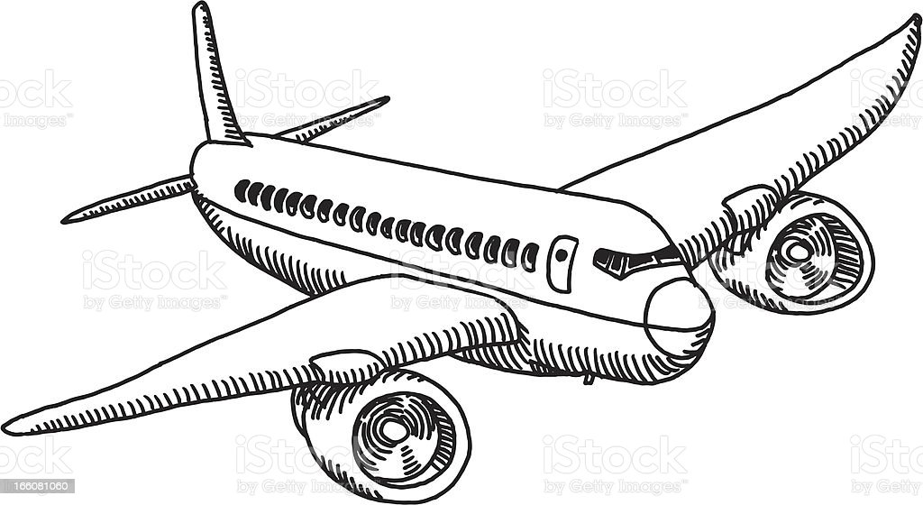 flying airplane drawing stock vector art more images of air rh istockphoto com