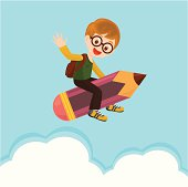 A boy flying with a pencil to go back school.
