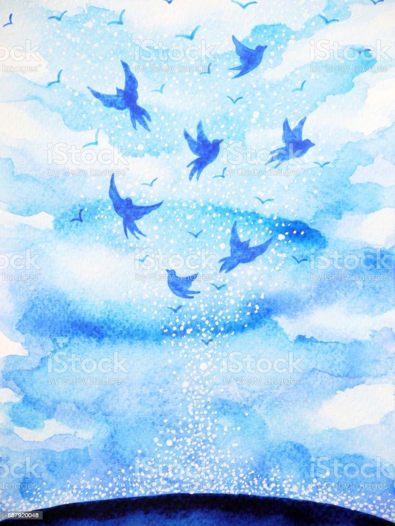 飛んでいる鳥無料オープンスカイと心をリラックス抽象的な水彩画の