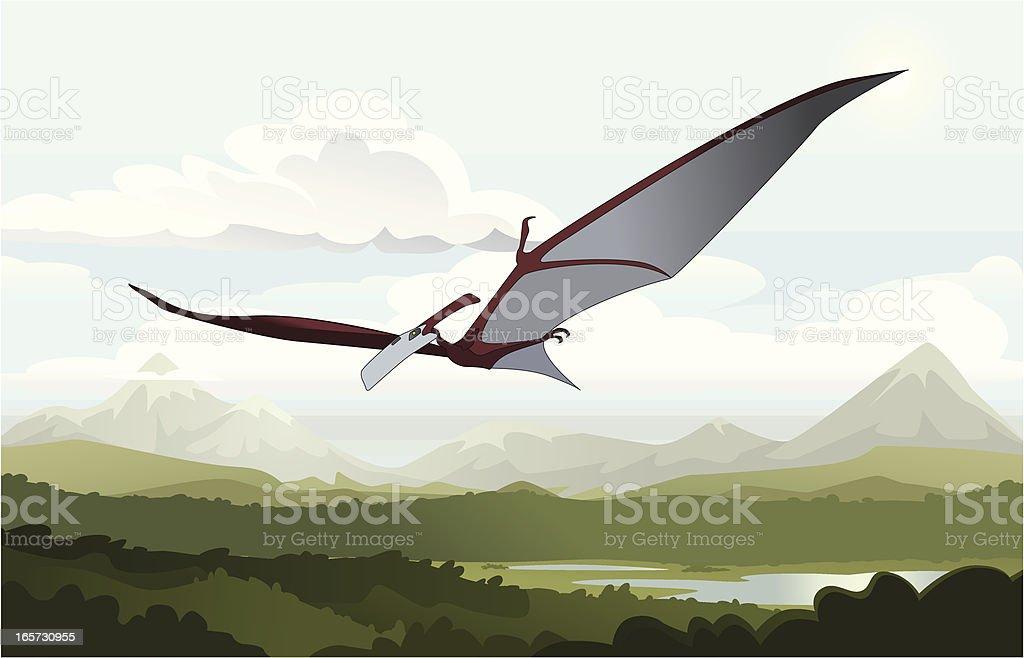 Flying dinosaur vector art illustration