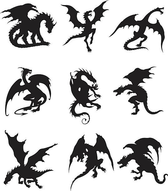 flying dragons - dragon stock illustrations, clip art, cartoons, & icons