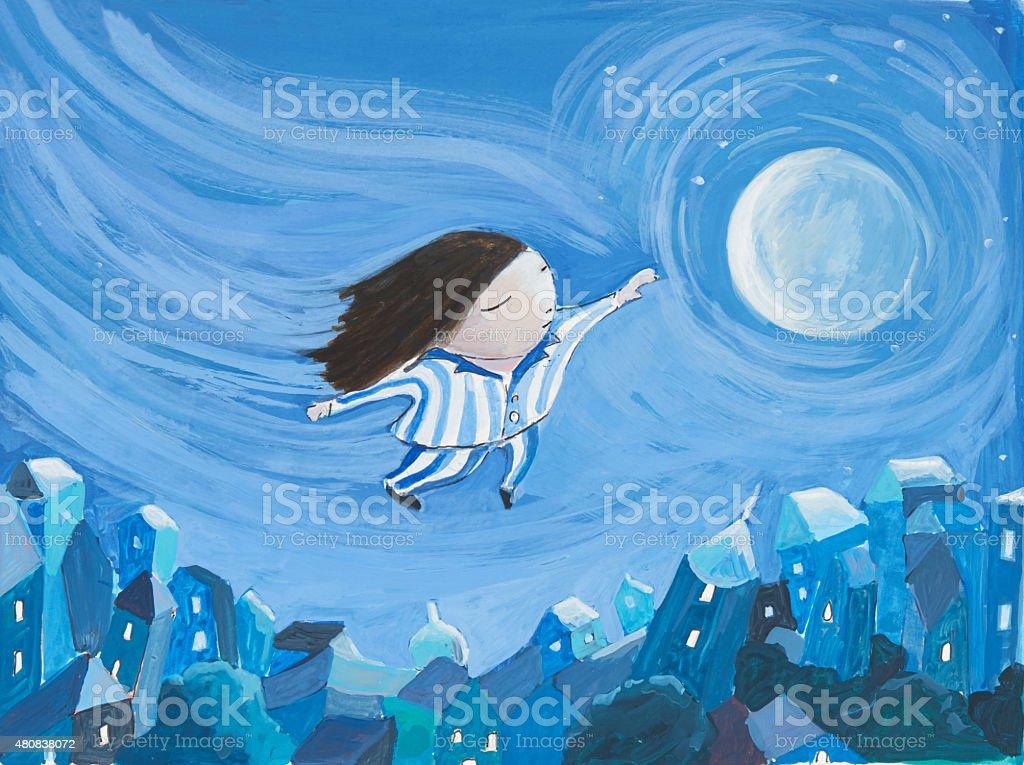 Flying Dream vector art illustration