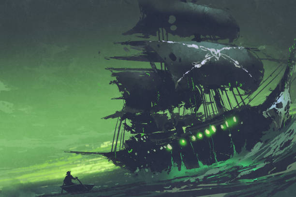 Flying Dutchman ghost pirate ship in the sea with mysterious green light night scene of ghost pirate ship in the sea with mysterious green light, Flying Dutchman, digital art style, illustration painting pirate ship stock illustrations