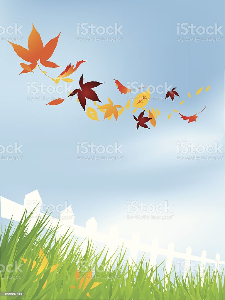 Flying fall leaves royalty-free stock vector art