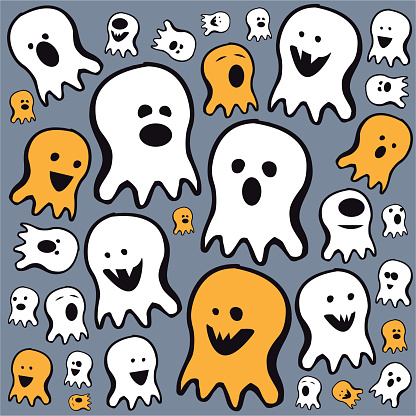 Flying ghost spirit Doodle - Happy Halloween - Scary white ghosts - Cute cartoon spooky character - Smiling face - Vector illustration stock illustration