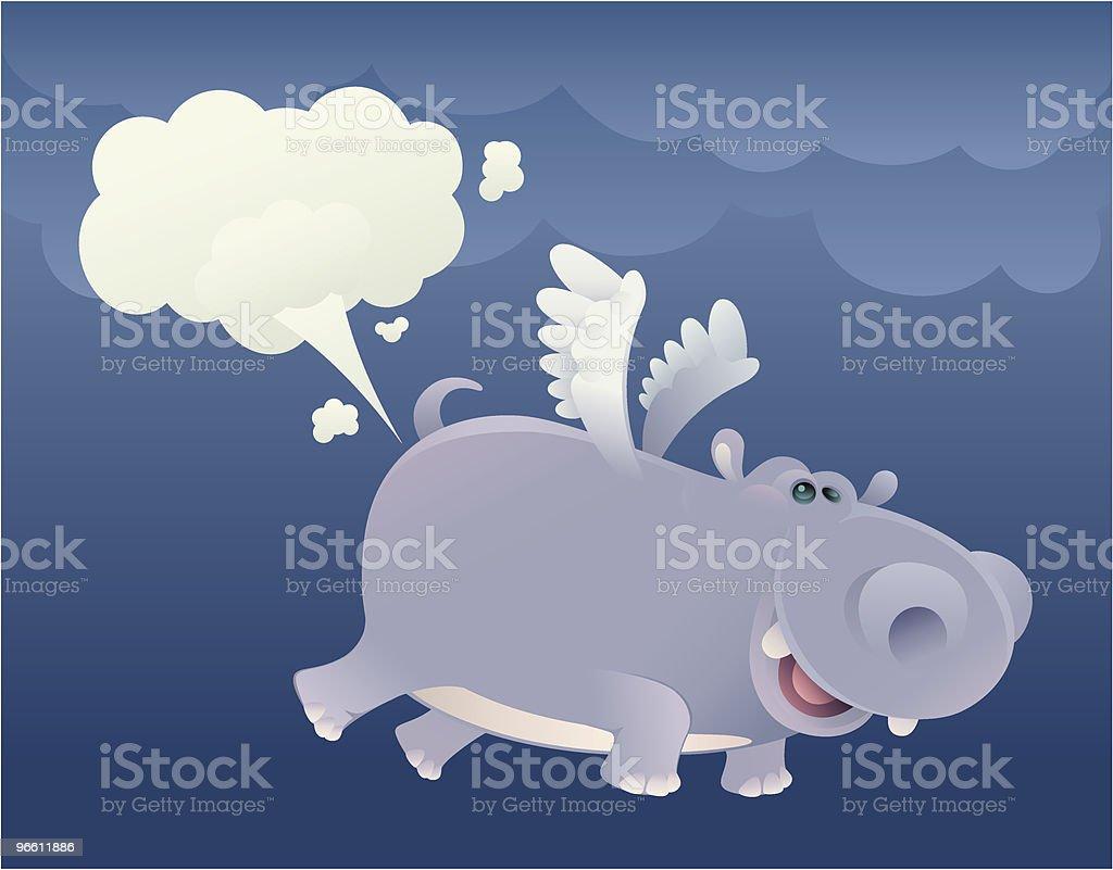 flying hippo - Royalty-free Animal stock vector