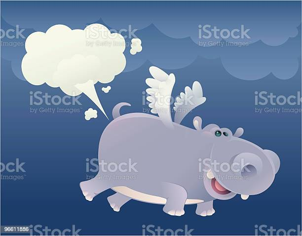 Flying Hippo-vektorgrafik och fler bilder på Dag