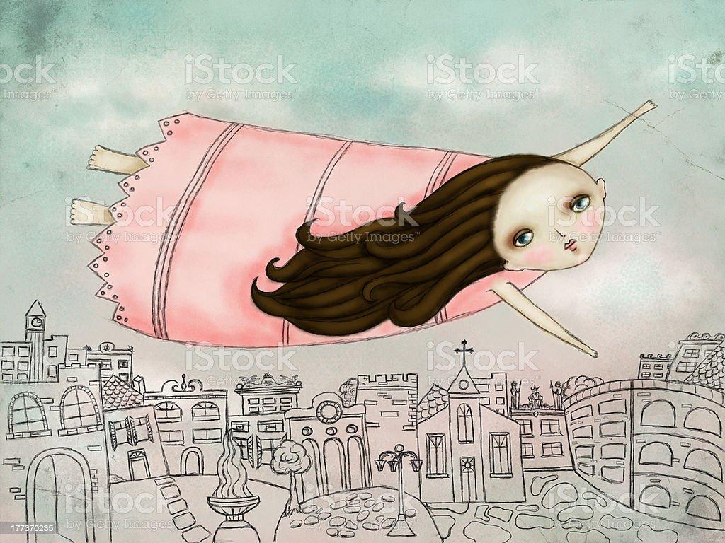 Flying vector art illustration