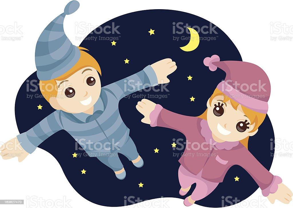Flying Kids vector art illustration