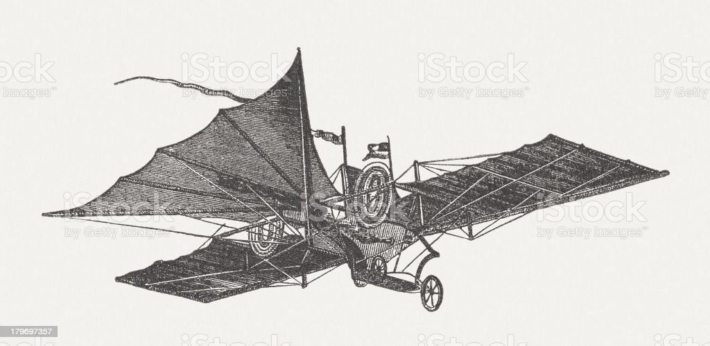 Flying machine by William Samuel Henson, wood engraving, published 1882 royalty-free stock vector art