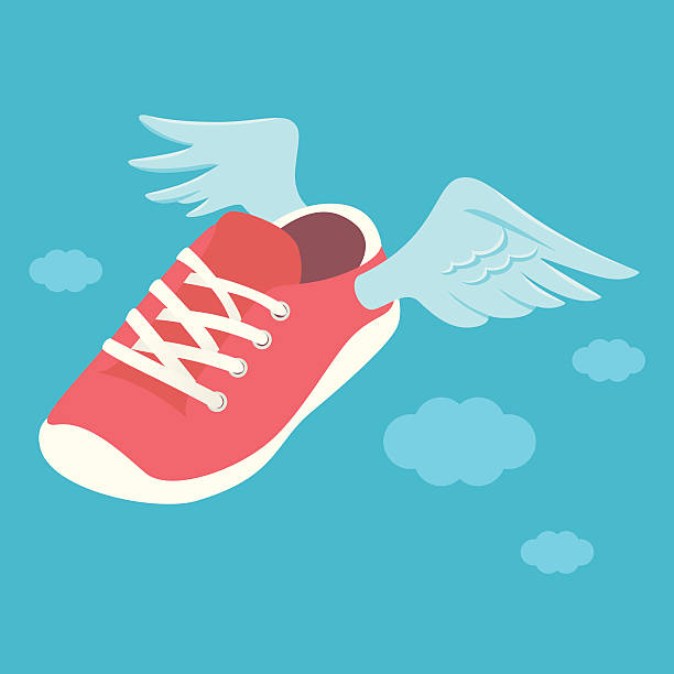 flying-sneaker - langstreckenlauf stock-grafiken, -clipart, -cartoons und -symbole