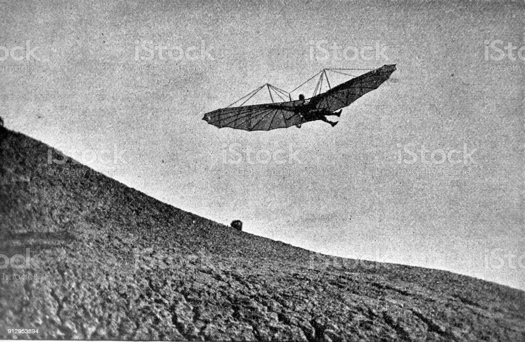 Pruebas de vuelos en planeador - 1896 - ilustración de arte vectorial