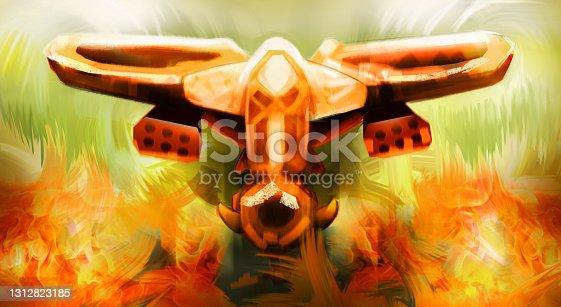 istock Flying Warthog, Fictional War Plane Vehicle Illustration, War Machine, Military 1312823185